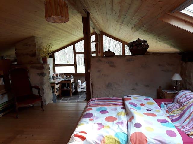 La chambre ,en duplex(avec les sanitaires ).