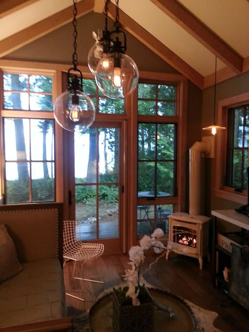 View from inside the cottage.