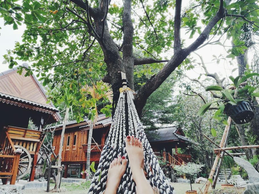 Chilling on a hammock under the tree