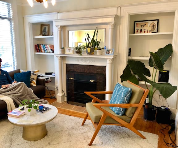 Master Bedroom in fully furnished Mid Century Apt