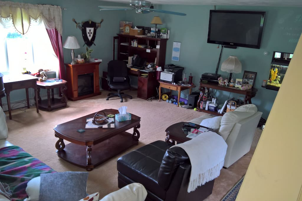 This large den is connected to the bedroom, and has adjacent bathroom and kitchen, and is the entrance to this bedroom area.  Has large screen TV (satellite) w/ surround sound. Gaming, baby grand piano, and electric fireplace.  This area can be private or shared as needed.