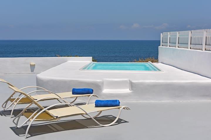 Sky blue, beach villa with private pool