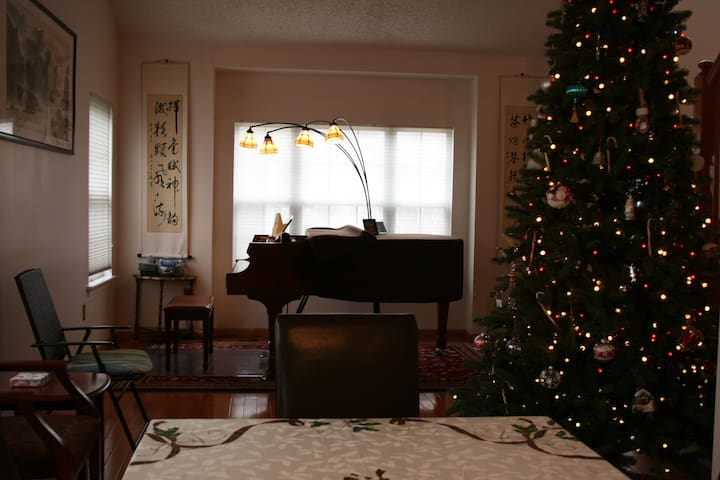 Living Room with a grand piano