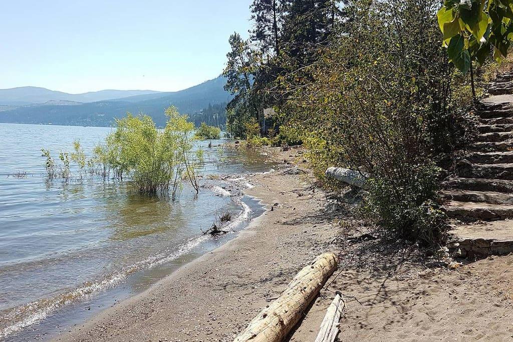 550 foot private beach