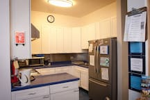 We have a fridge, stove, coffee maker, hot water heater, microwave, and oven for our guests to use whenever they want! (Except for between midnight and 6 a.m. Our guests' sleep is important to us.)