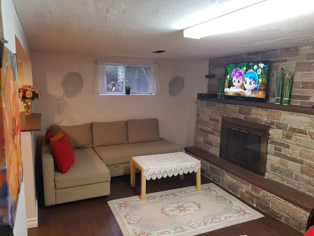 A cozy basement with full comfortable equipment