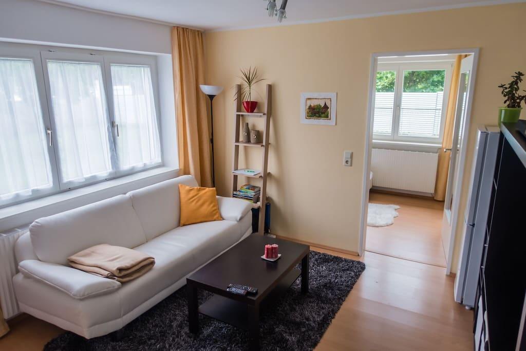 Living room and door to bedroom