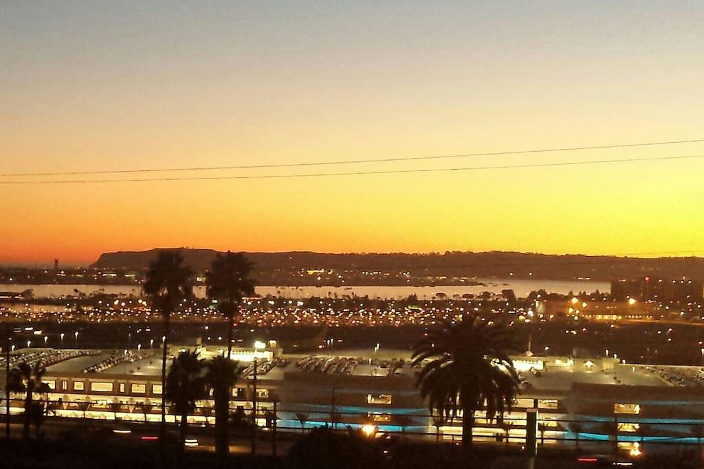Breathtaking harbor view, Point Loma, Coronado island and airport.