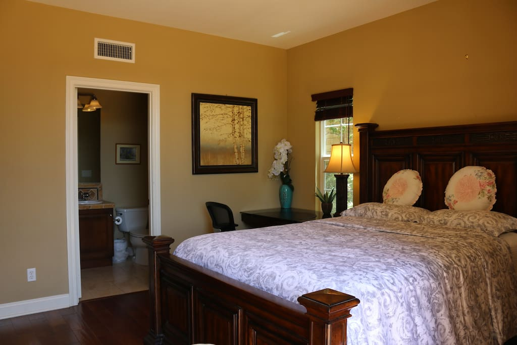 Bedroom #101 with private full bath and writing desk,Wi-Fi for business purpose