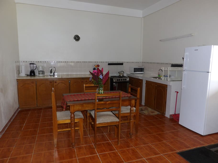 Spacious kitchen and indoor dining
