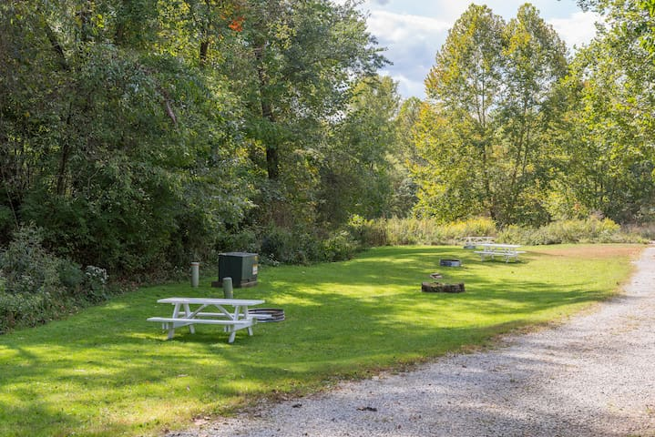 Firepit and picnic tables are available for each cabin. Bring your lawn chairs!