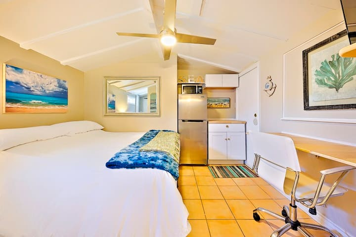 King Size Bed, Ceiling fan, Mid-size refridgerator, Mircrowave, Small Kitchenette, Toaster Oven, Hot Plate, Work Desk
