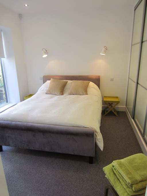 Comfortable King size bed & plenty of storage space.