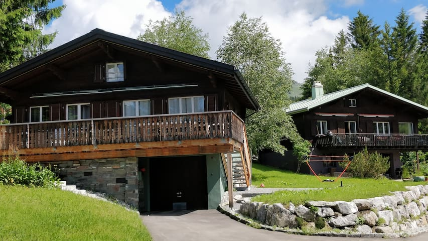 Two newly renovated and beautifully internally designed Chalets with south facing  terrace and balcony overlooking meadows, forests and the near mountains (Our house mountain Leistkamm is an easy 2.5h to climb). Sauna, 2 e-bikes, table tennis, etc.