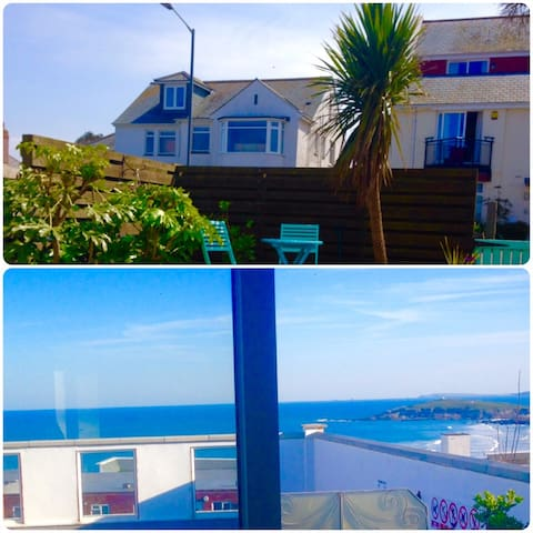 BLUE VIEW beach house with pool & garden pentire