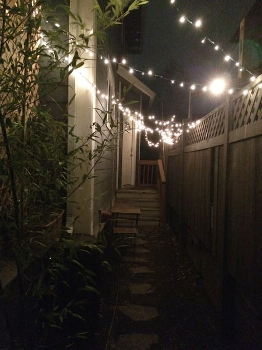 Your outdoor space all lit up controlled with a switch by the entryway door.