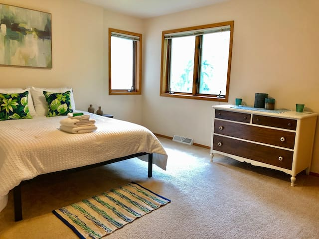 Master bedroom with brand new queen bed/mattress, dresser, and two large closets.