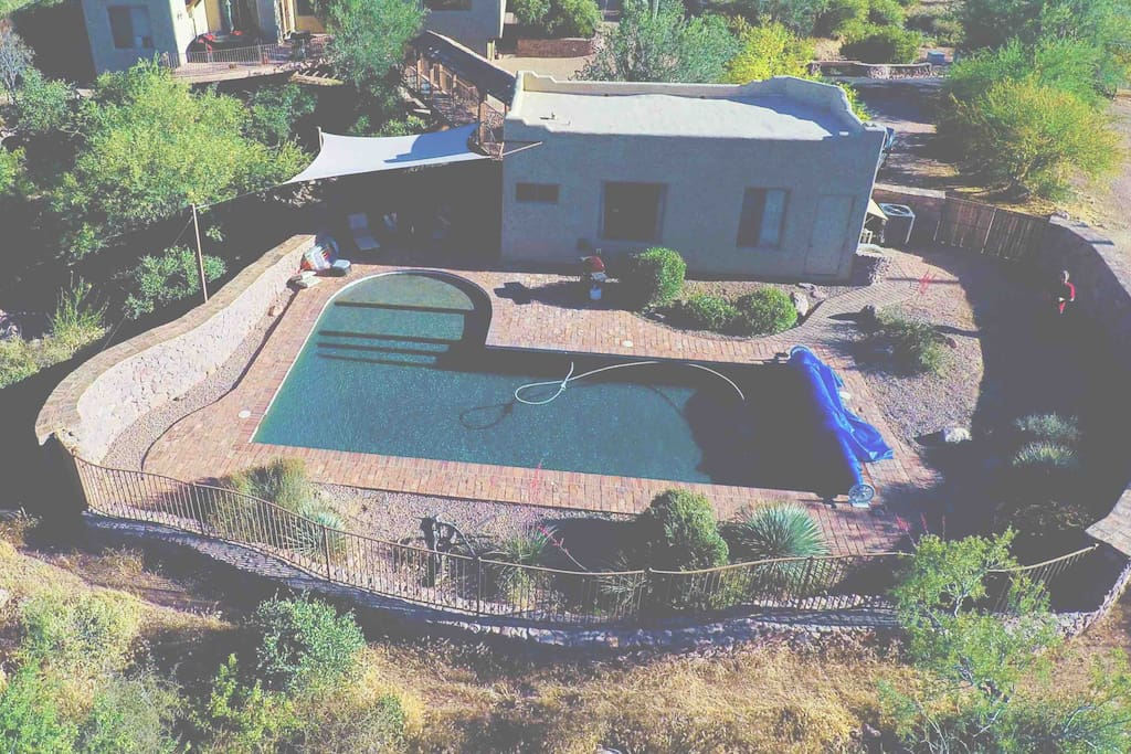 Aerial shot of the pool and casita taken from The Tonto National Park
