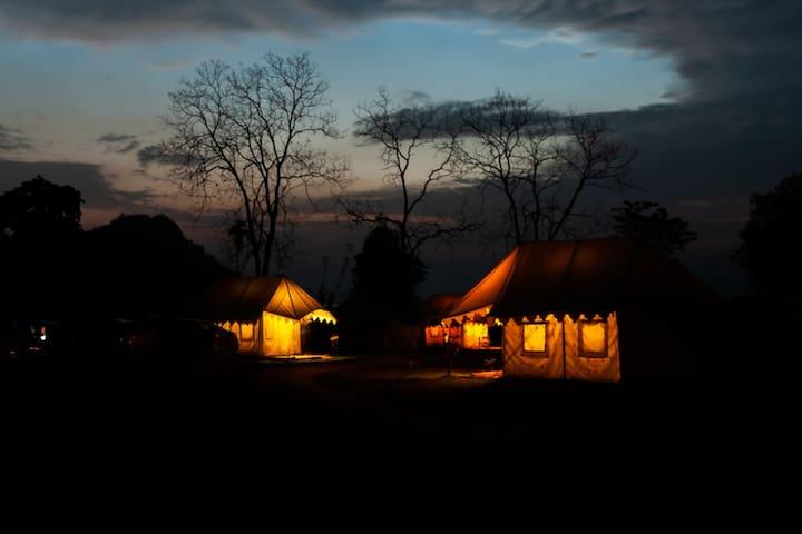 Swiss Tent 1 near River Brahmaputra at Pobitora