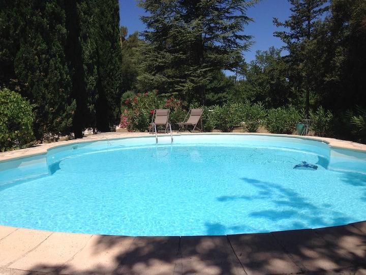 Mas au calme sans vis à vis avec piscine privée .