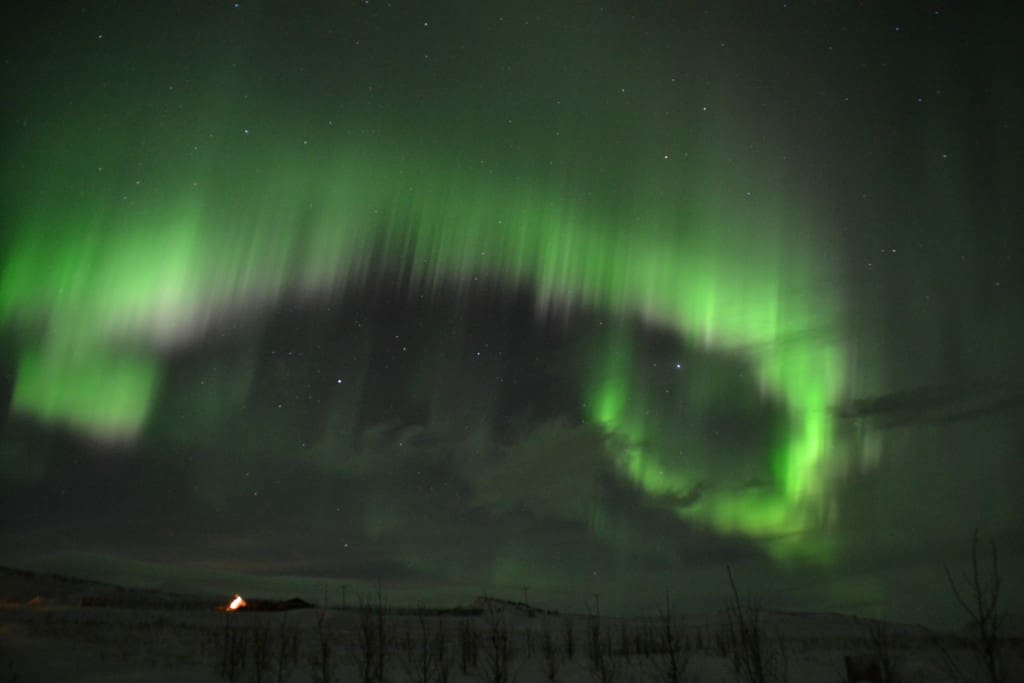 Northern Lights above the cottages
