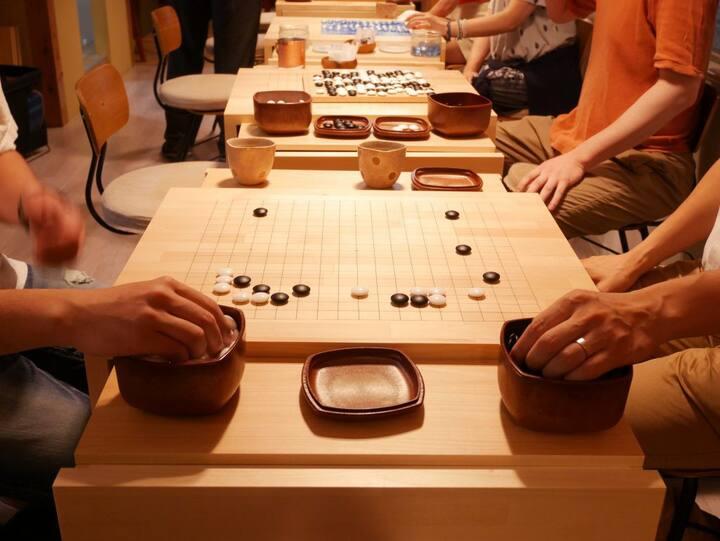 There are original Go board tables