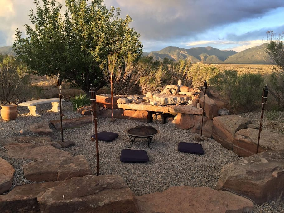 Fire pit with Taos  mountain view
