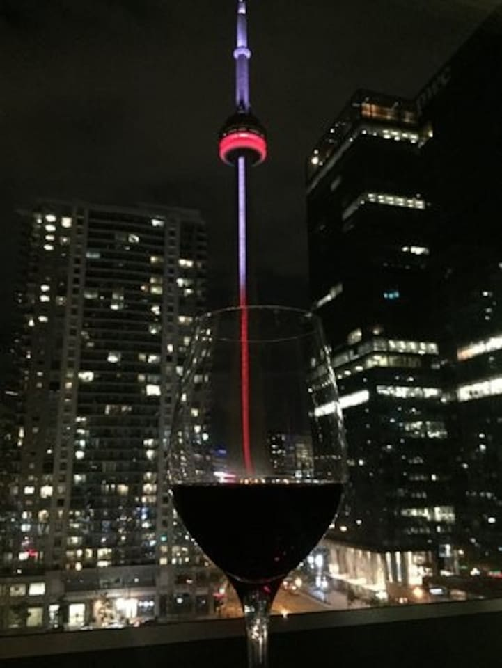 Night view of the CN Tower from the unit