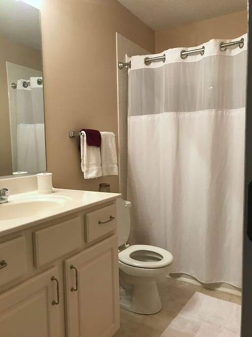 Clean, private guest bathroom