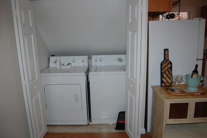 washer & dryer, iron, ironing board, laundry baskets