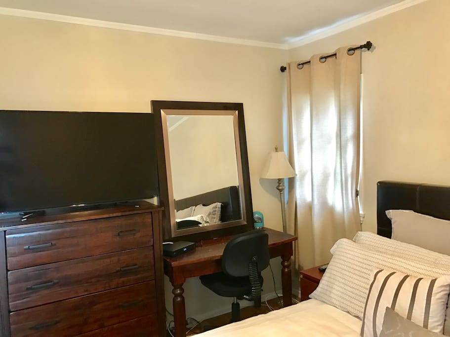 TV with premium cable, dresser, closet (not pictured), and small desk