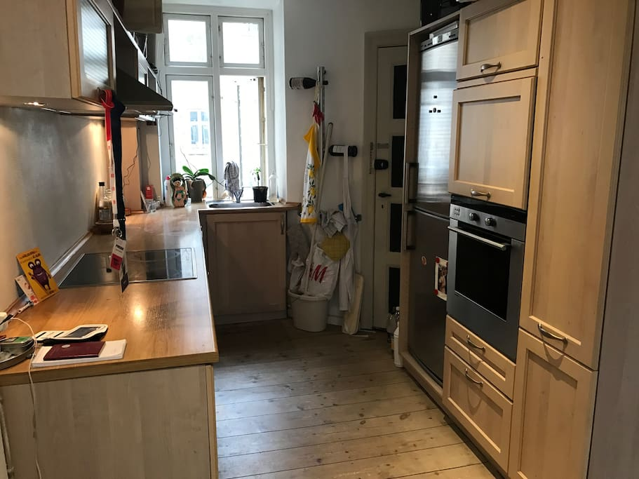 Kitchen with fridge, oven, dish washer and everything else