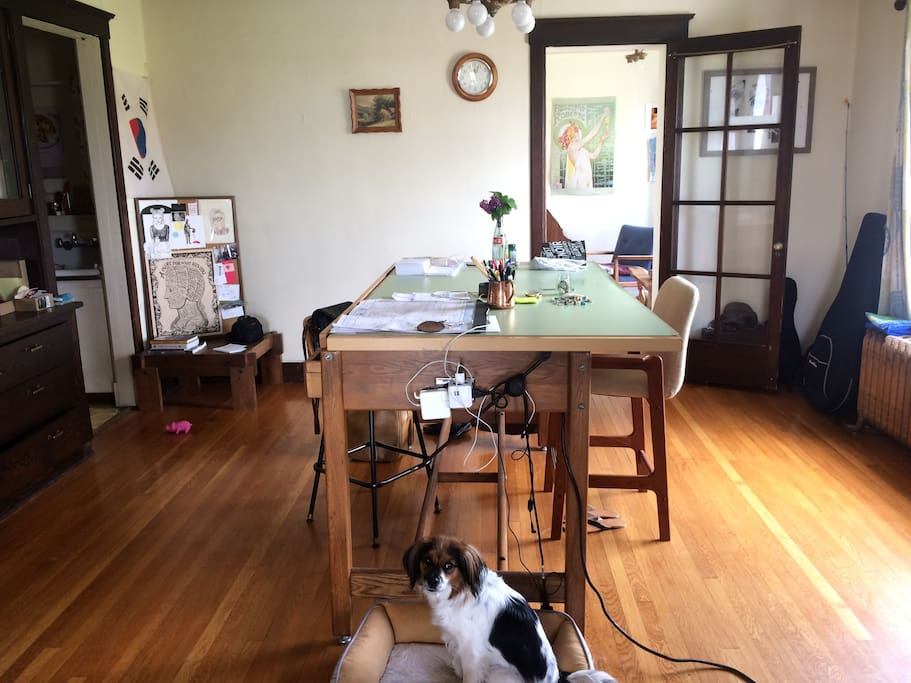 Dining room/work space. (And our dog Maya!)