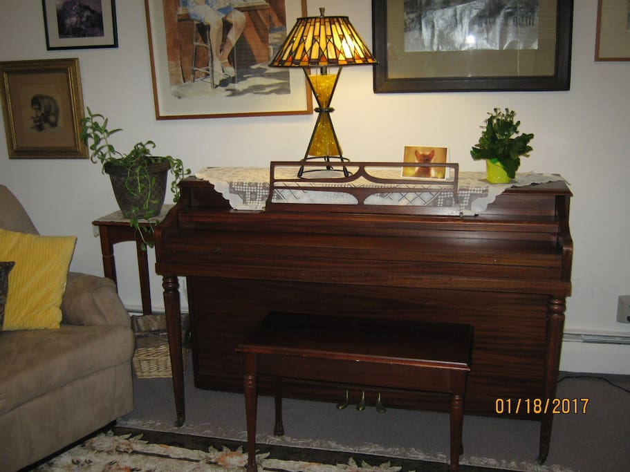 Come play the piano located in the living room.