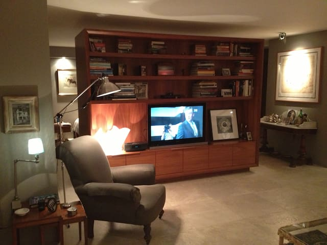 Lounge room with custom joinery.