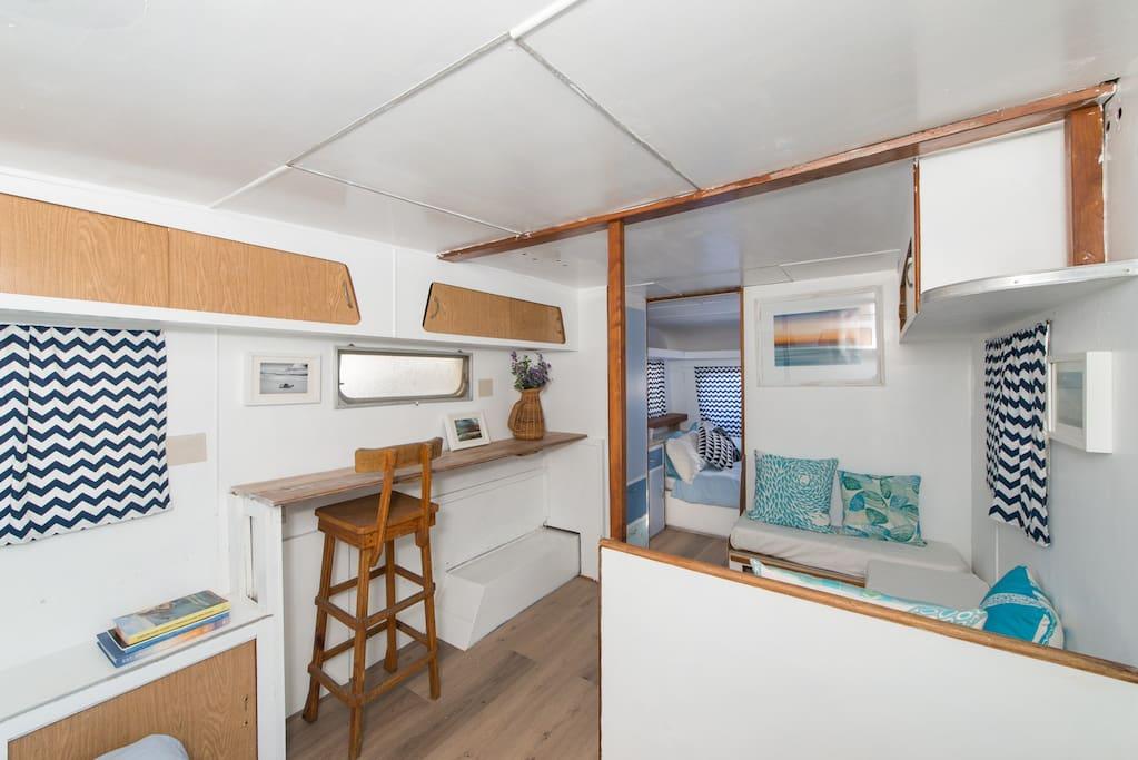 Inside the 1970's renovated caravan
