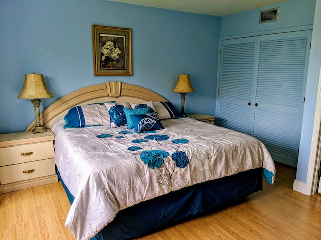 Master Bedroom with King Bed  and view of Charlotte Harbor