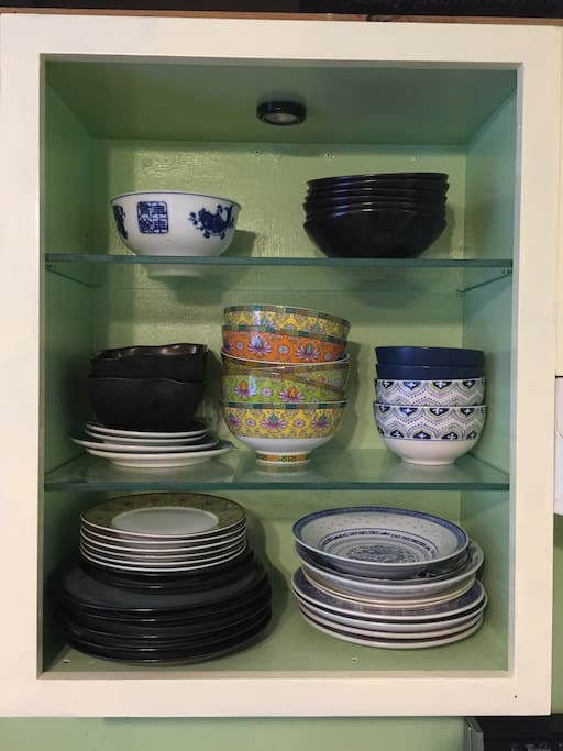 We love mismatched bowls and plates! So much more interesting!