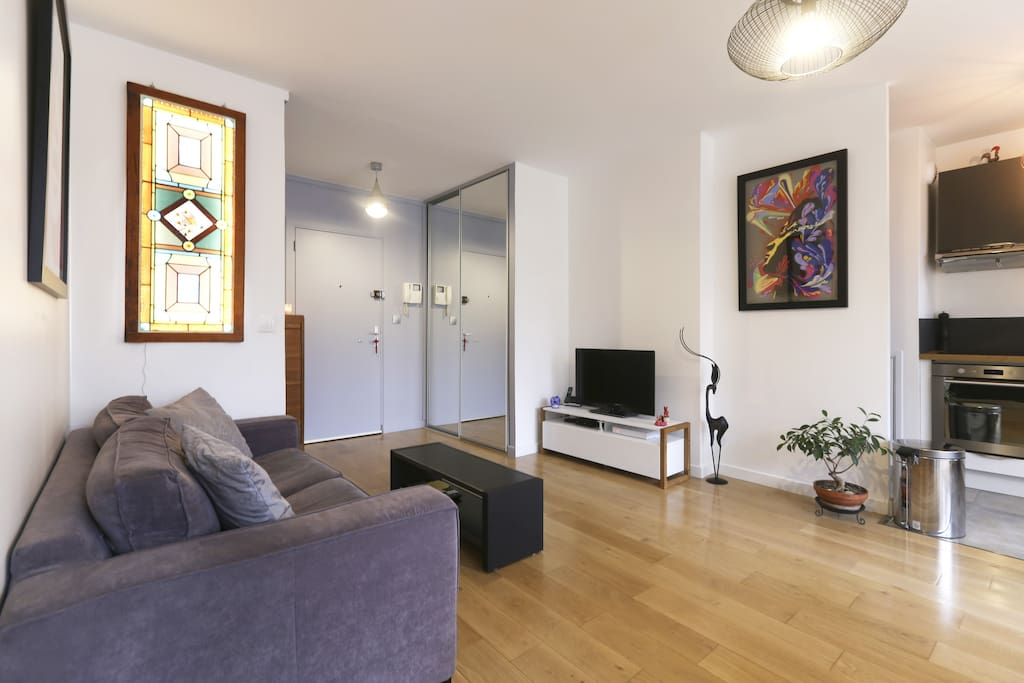 Grand séjour avec canape-lit, TV, internet wifi, dressing : sèche-linge, fer à repasser.