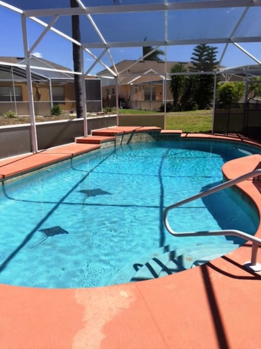 Large pool with large deck.  Pool had been resurfaced and re-tiled.