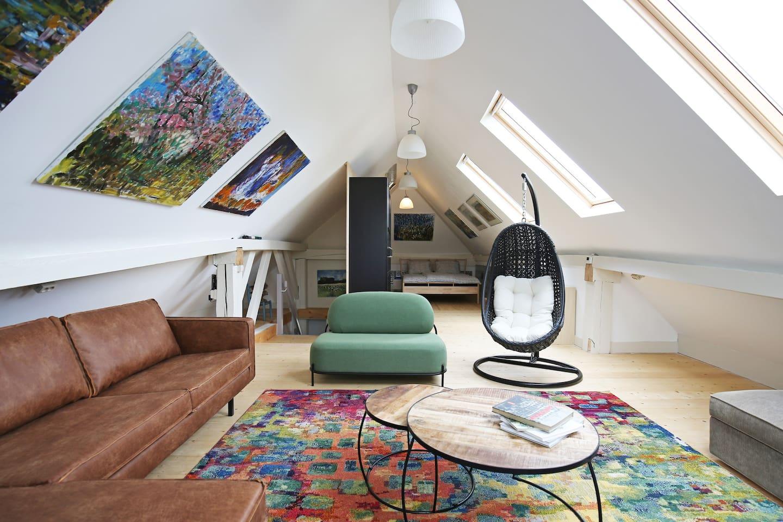 Living and sleeping room on top floor