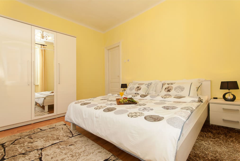 Relaxing and quiet bedroom with an orthopedic mattress and lots of closet space.