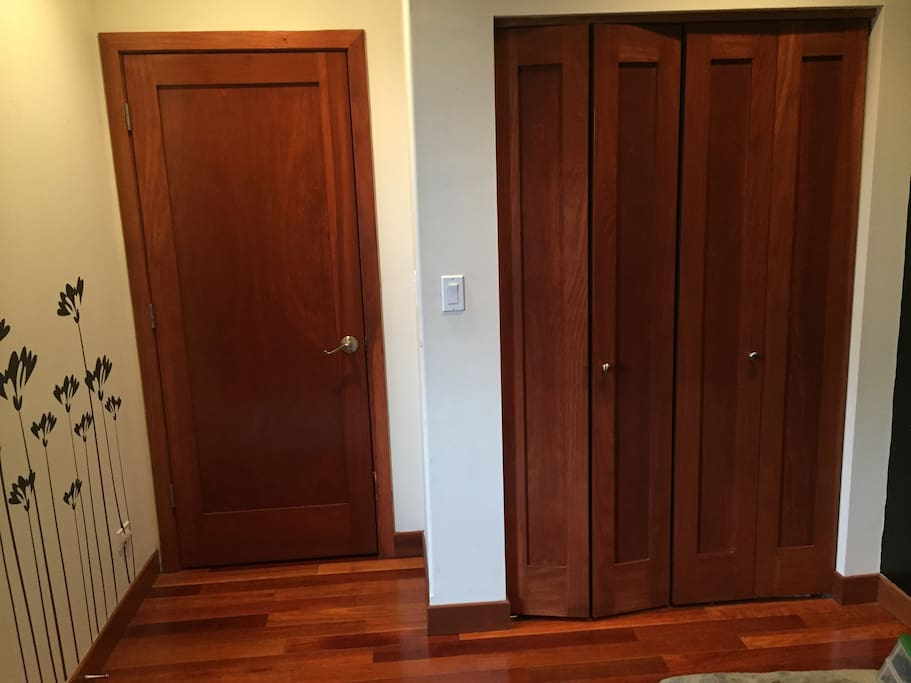 Room entry door. Large closet for hanging clothes.