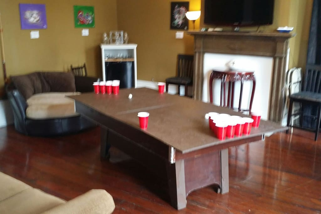 Beer pong! Everything you'd need is provided.