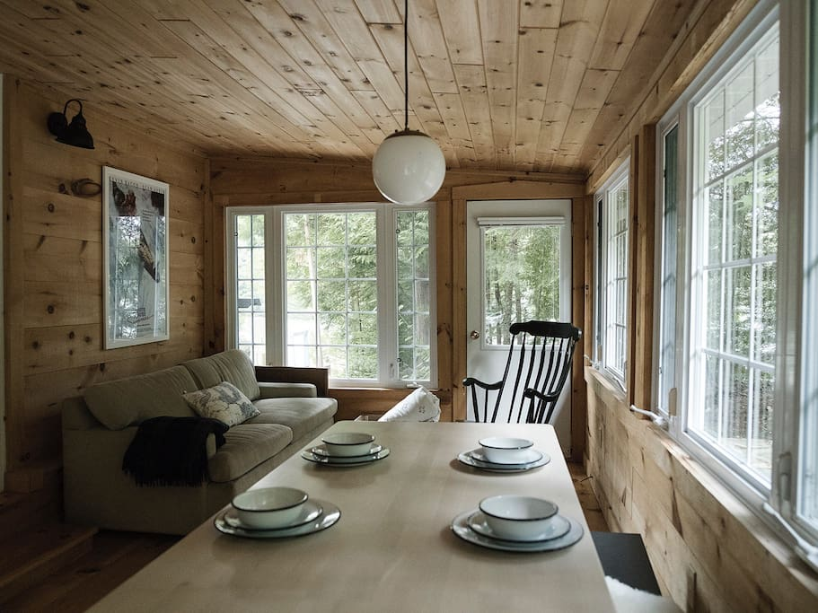 Muskoka room dining table and pull out sofa