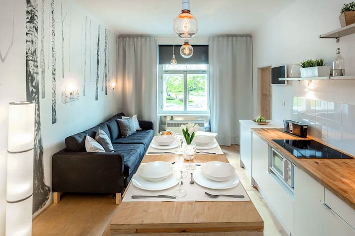 """The apartment has everything you need in your daily life and has the perfect location, which is situated only a few station from the city center away."