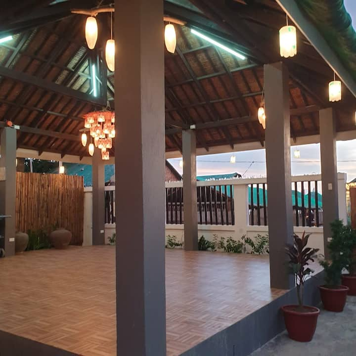 For 30 persons. Beachfront house with pavillion.