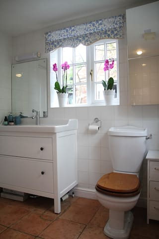 A big shower room downstairs and a bath room upstairs