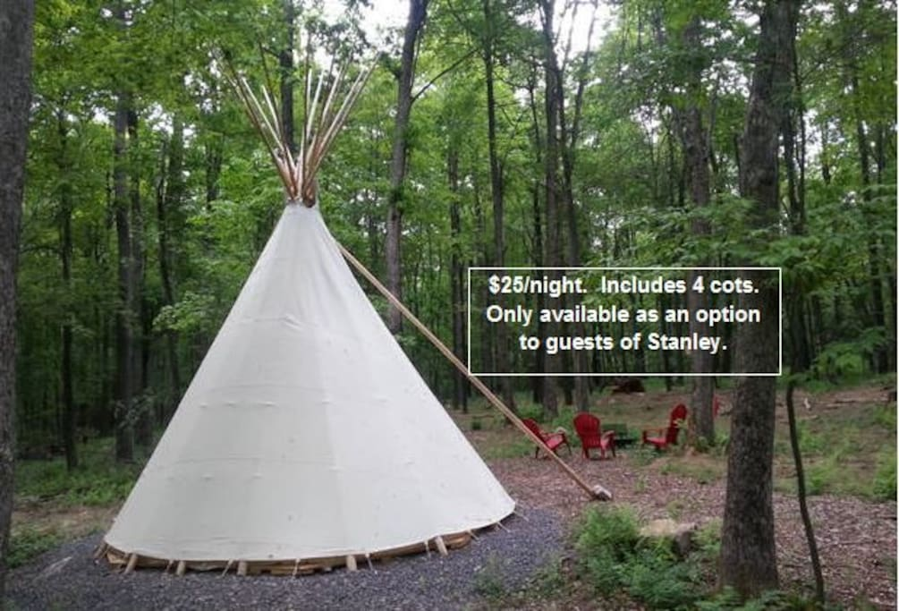 There is also a tipi available as an option for guests of Stanley ($25/night extra).  It is a great space for kids - and also gives the adults privacy in the hut.