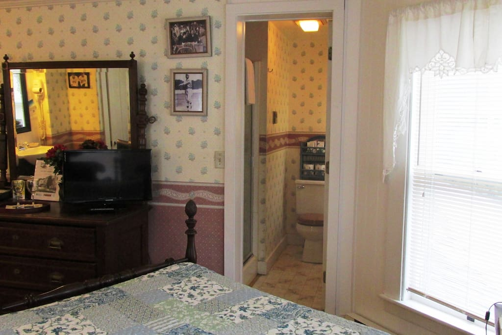 Flat screen TV, private bathroom with shower stall